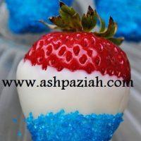 تزیین خوراکی های تولد با تم آبی و قرمز و سفید
