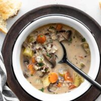 سوپ خامه ای سبزیجات و برنج